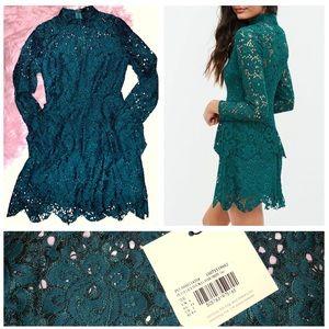 Petite Lace Teal Green Long Sleeve Sexy Mini Dress